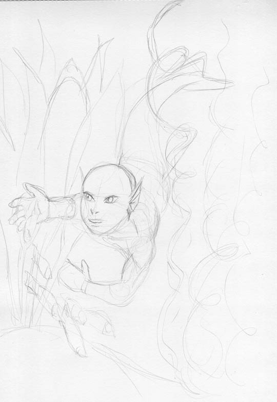 rough pencil sketch of a small mermaid playing with little fishes.