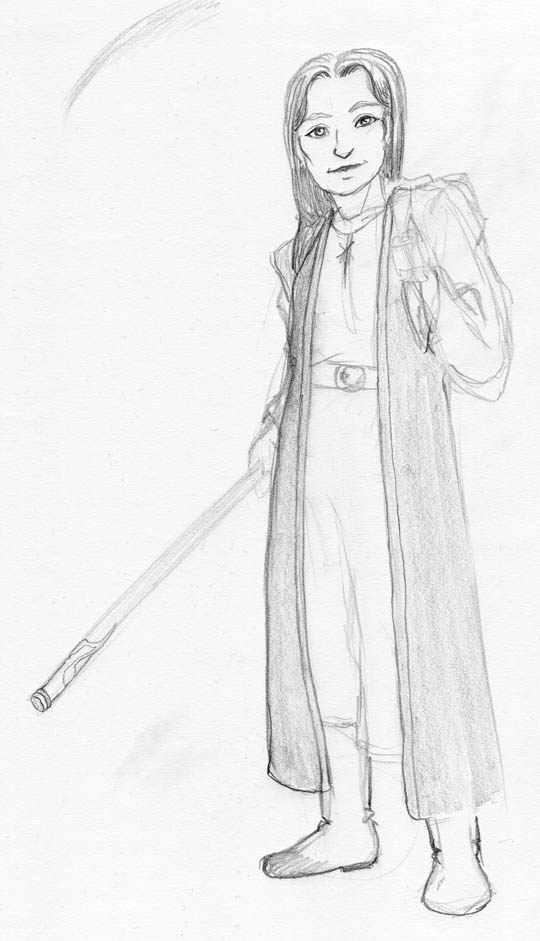 Sketch of a woman wearing simple robes and carrying a staff and a backpack.
