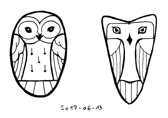Ink outline drawings of two stylized owls