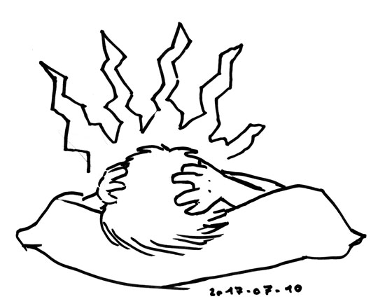 Ink outline sketch of someone lying facedown on a pillow, holding their head, jagged lines radiating from their head.