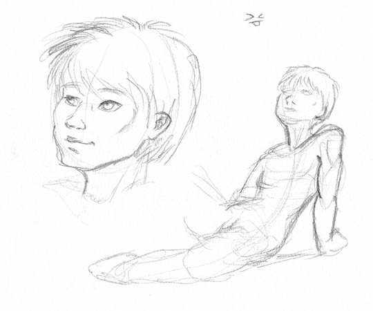 Character sketches of Nico - one portrait, one sitting pose