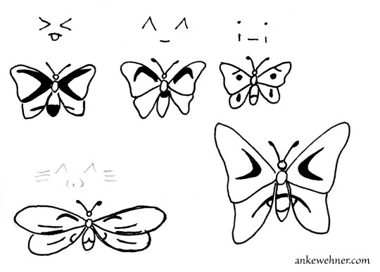 Ink outline drawing showing a few butterflies with emojis on their wings.
