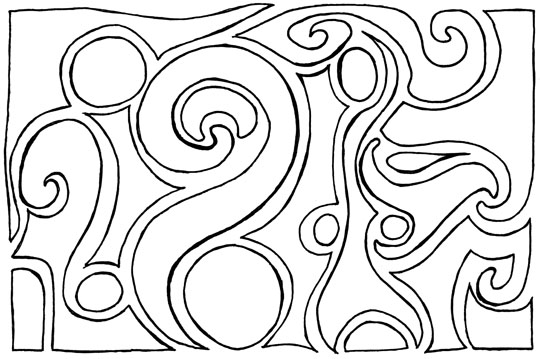 Outlines of shapes filling a rectangle