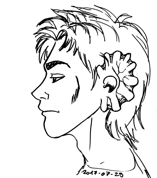 outline drawing of an elf with leaf-shaped ears