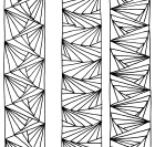 3 vertical bands with one repeating pattern each. The patterns are formed by black, straight lines arranged in fan-shapes and/or forming triangles.
