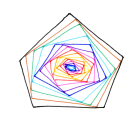Abstract made up of nested pentagons