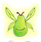 A drawing of a green pear with a smiling mouth, gauzy fairy wings, and two stems like antennae
