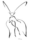 A fairy with butterfly wings, drawn as a stick figure.