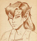 Sepia-toned portrait of an elf with long, dark hair, wearing a headband