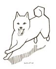 Outline drawing of a running shiba inu