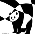 A great panda drawn in ink using black and white shapes only