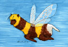 Marker Drawing of an alpaca with bumblebee wings and stripes