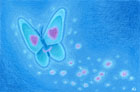 Colour pencil drawing of a butterfly with a heart eyes emoji on its wings