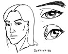 Sketches showing a portrait and two eyes