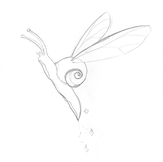A snail flying with the help of a pair of insect wings