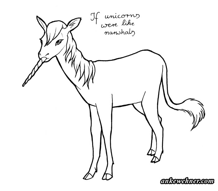 ink line drawing of a unicorn with its horn protruding from its mouth