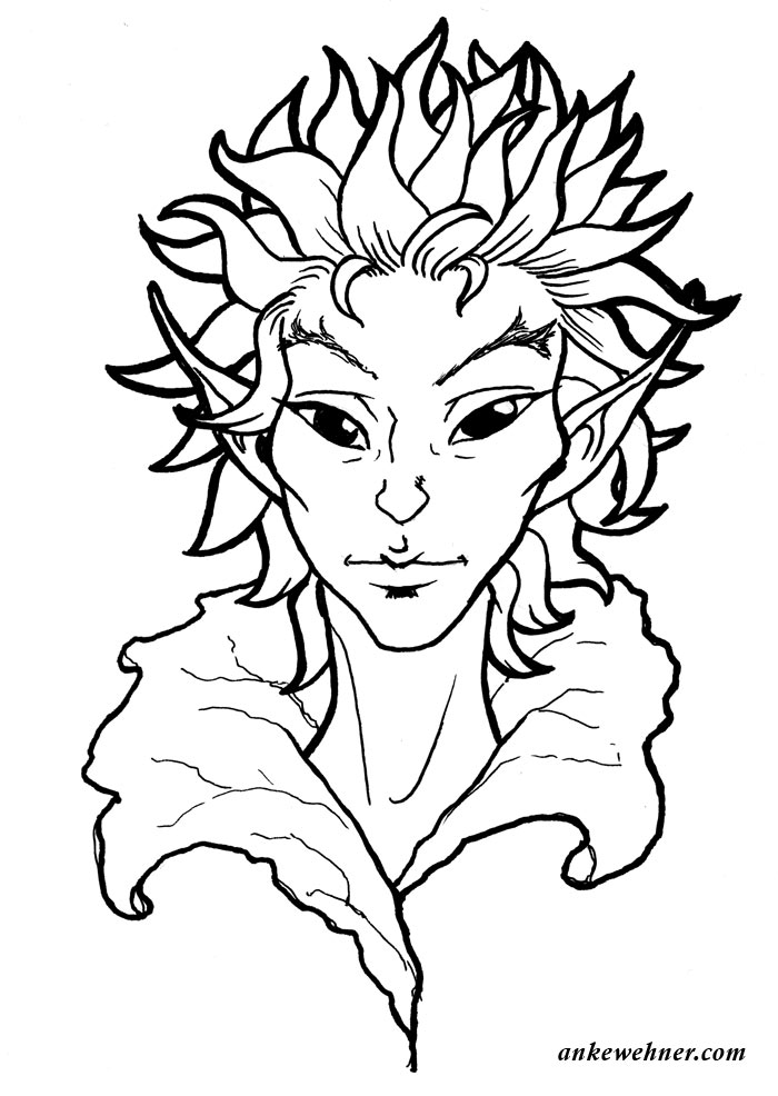 ink line portrait of a fairy