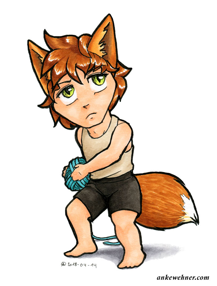 marker drawing of a chibi fox boy