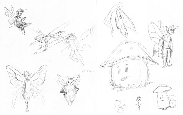 Sketches of various fairies and mushrooms with faces.