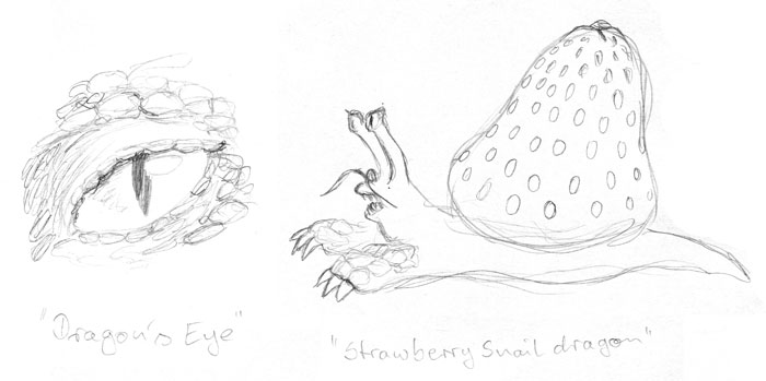 A sketch of a dragon eye, and one of a cross between a dragon, a snail, and a strawberry