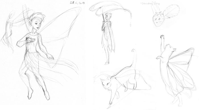 Sketches of fairies and fairy cats