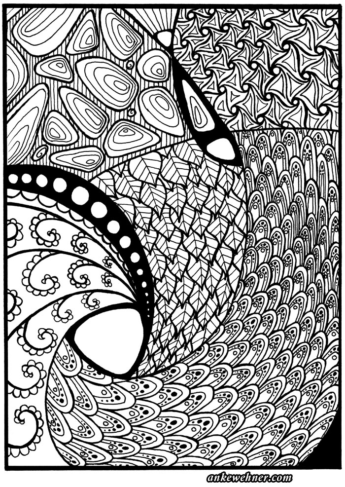 Abstract patterns drawn in black ink