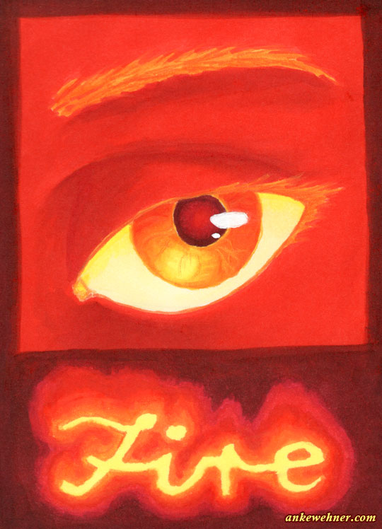 Drawing of the eye of a fire elemental.