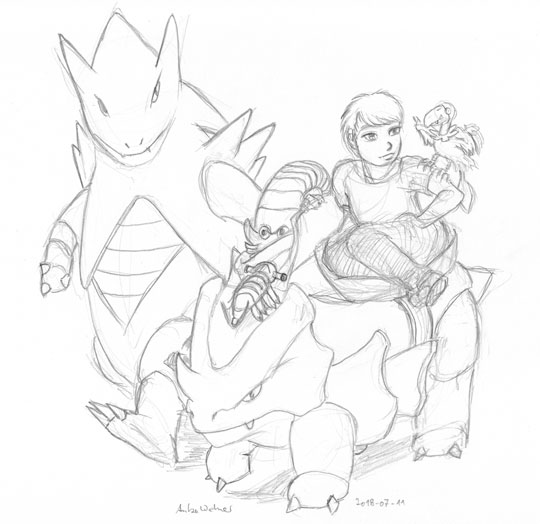 Pencil sketch of a Pokemon team.