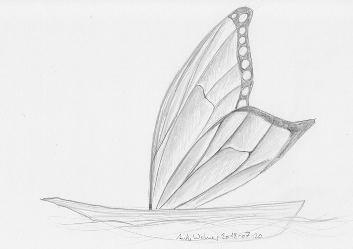 Pencil sketch of a boat with half a pair of butterfly wings for sails