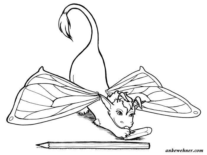 Ink line drawing of a small dragon with butterfly wings playing with an eraser