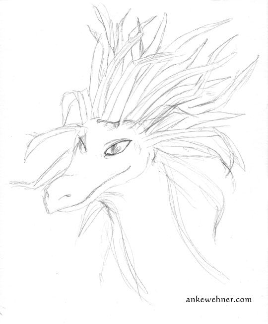 Portrait of a dragon with a crest made up of grass blades.