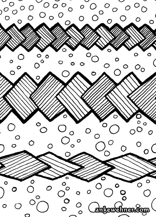 Abstract black and white ink drawing of chains of overlapping rectangles over a bubble background