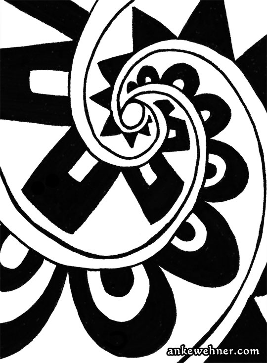 Abstract black and white ink drawing with bold patterns arranged in a triple spiral
