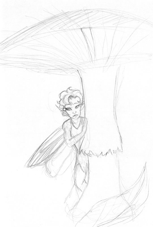 Rough pencil sketch of a fairy looking at the viewer hiding behind the stem of a mushroom