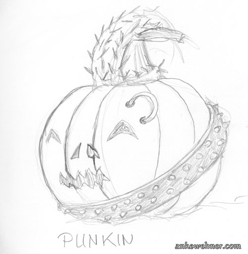 A pumpkin with a carved face, an eyebrow piercing and a belt with spikes on.