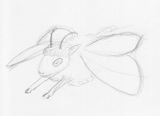 Sketch of a cartoony sheep with butterfly wings.