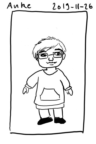 Chibi sketch of myself in a sweat dress with kangaroo pockets. I have short hair and eyeglasses with rectangular glasses.