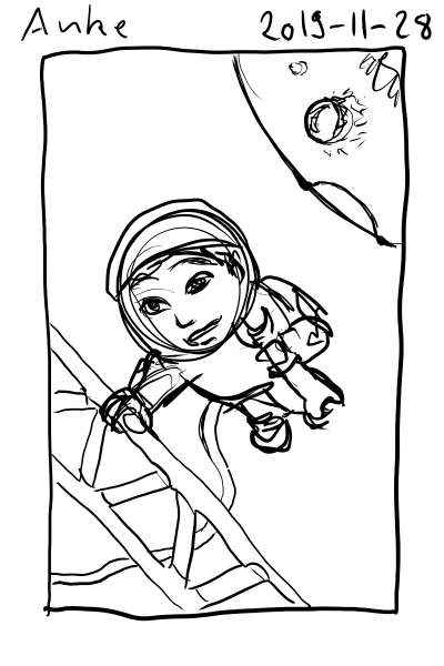 Sketch of an astronaut on a spacewalk.