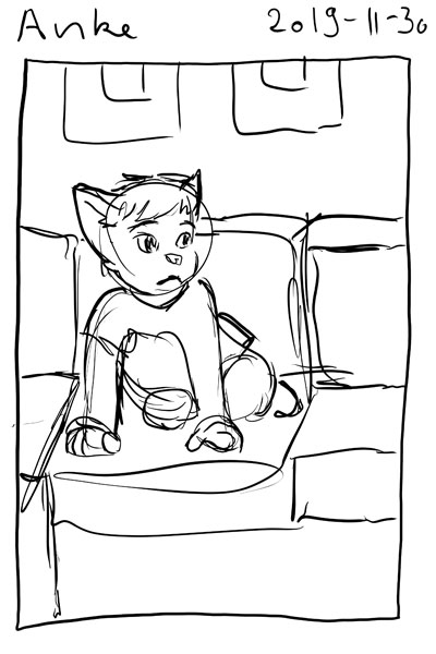 Sketch of me as a catgirl, curled up on my couch.