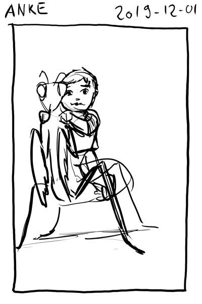 Sketch of myself riding a giant praying mantis.