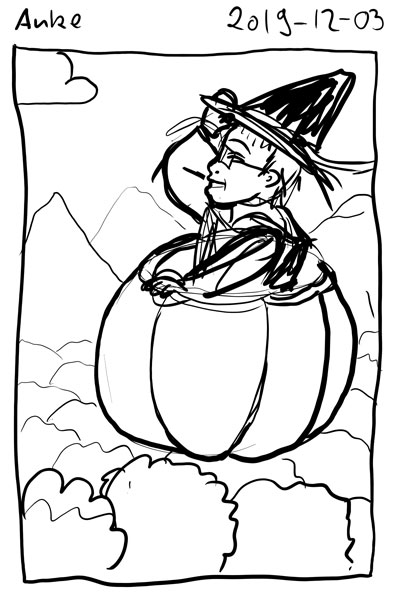 Sketch of myself as a witch with a pointy black hat. I'm sitting in a hollowed-out giant pumpkin ald fllying over a forest.