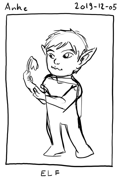 Sketch of myself as an elf, with long, pointed ears. I am holding a flower.