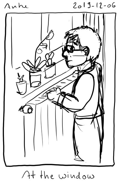 Sketch of myself standing at my window. There are several potted flowers on the windowsill.