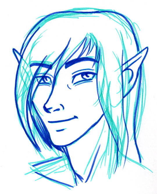Portrait of an elf drawn in light and dark blue feltpen