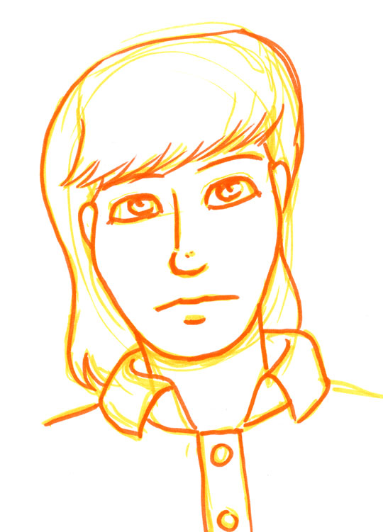 Portrait of a young woman drawn in yellow and red feltpen