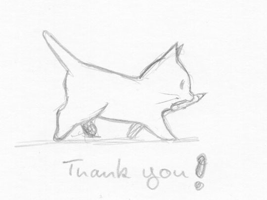 "Pencil sketch of a little cartoon kitten with ""Tank you!"" written under it"