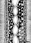 Abstract black and white ink drawing with eye-garlands and triangles