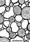 Abstract black and white ink drawing showing multiple spirals corrected with frames