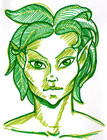 Line drawing portrait in two shades of green of a dryad, with wide leaves instead of hair
