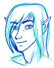 Portrait of an elf drawn in light and dark blue feltpen